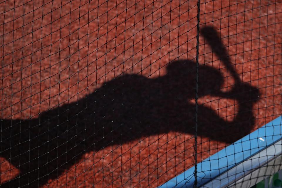 TORONTO, ON - AUGUST 13: The shadow of Chris Stewart #19 of the Pittsburgh Pirates is seen on the turf as he prepares to bat from the on-deck circle in the ninth inning during MLB game action against the Toronto Blue Jays at Rogers Centre on August 13, 2017 in Toronto, Canada. (Photo by Tom Szczerbowski/Getty Images)