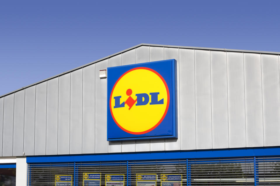 Wiesbaden, Germany - April 10, 2011: Sign of LIDL Store. LIDL is a large german discount supermarket chain. It operates worldwide and owns app. 7200 stores. The full name of the company is Lidl Stiftung & Co. KG and it is headquartered in Neckarsulm, Germany