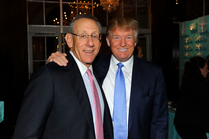"""Miami Dolphins owner Stephen Ross and Donald Trump attend a benefit together in 2010. Several NFL owners donated to Trump's election campaign in 2016. <span class=""""copyright"""">(Andrew H. Walker / Getty Images)</span>"""