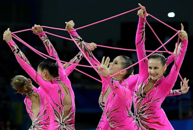 BEIJING - AUGUST 24: The Russian team perform in the 5 Ropes rotation in the Group All-Around Final held at the Beijing University of Technology Gymnasium during Day 16 of the Beijing 2008 Olympic Games on August 24, 2008 in Beijing, China. (Photo by Nick Laham/Getty Images)