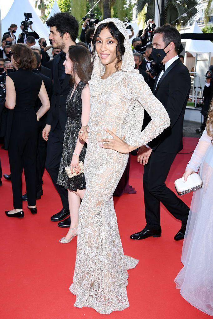 <p>The Pose star wore a hooded Etro gown for the red carpet event. </p>