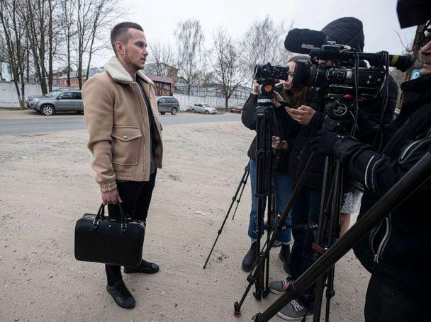 PHOTO: Lawyer Alexey Liptsner speaks with journalists in front of the check point of penal colony No.3 (IK-3) of the Federal Penitentiary Service Directorate for the Vladimir region of Russia on April 19, 2021. (Sergei Ilnitsky/EPA via Shutterstock)