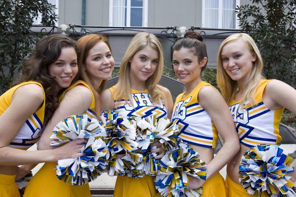 """<p>Lifetime loves a cheerleader movie, and this one is star-studded. Jenna Dewan plays a coach-slash-teacher who quickly realizes five of the cheerleaders on her squad are disruptive, manipulative mean girls. (One of them is played by Ashley Benson.) The only problem is the administration isn't doing anything to curtail their behavior. </p> <p><a href=""""https://www.amazon.com/Fab-Five-Texas-Cheerleader-Scandal/dp/B019NJ95NQ/ref=sr_1_1?dchild=1&keywords=Fab+Five%3A+The+Texas+Cheerleader+Scandal&qid=1595443308&sr=8-1"""" rel=""""nofollow noopener"""" target=""""_blank"""" data-ylk=""""slk:Stream on Amazon Prime Video"""" class=""""link rapid-noclick-resp""""><em>Stream on Amazon Prime Video</em></a></p>"""