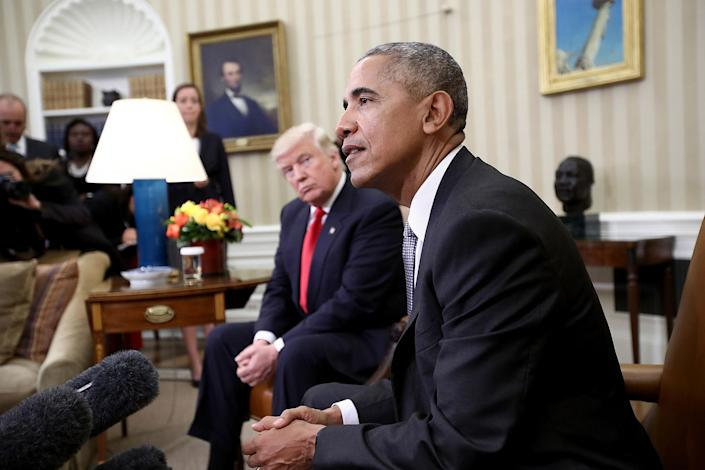 <p>President-elect Donald Trump listens as President Obama speaks during a meeting in the Oval Office, Nov. 10, 2016, in Washington, D.C. (Win McNamee/Getty Images) </p>