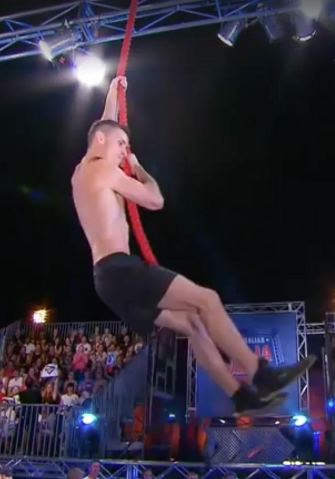 Some of Australia's most muscly took on the giant obstacle course. Source: Nine Network
