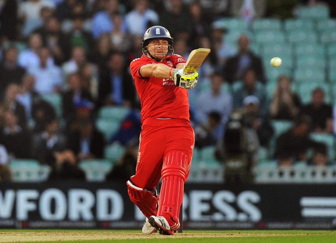 England's Luke Wright bats during the Natwest International Twenty20 match at the Kia Oval, London.