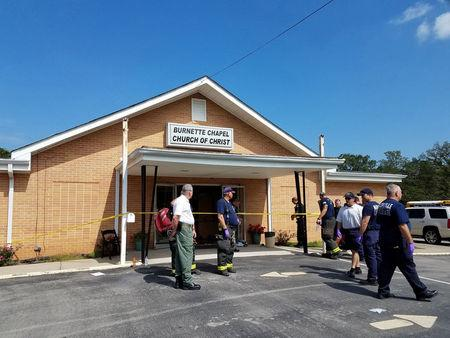 The scene where people were injured when gunfire erupted at the Burnette Chapel Church of Christ, in Nashville, Tennessee, U.S., September 24, 2017.  Metro Nashville Police Department/Handout via REUTERS