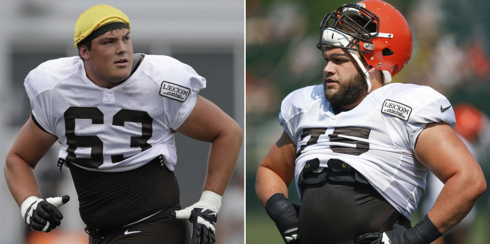 """FILE - At left, in a July 30, 2018, file photo, Cleveland Browns offensive guard Austin Corbett runs a route during NFL football training camp, in Berea, Ohio. At right, in an Aug. 14, 2018, file photo, Cleveland Browns offensive tackle Joel Bitonio stands on the sideline during NFL football training camp, in Berea, Ohio. With the season opener against Pittsburgh just a week away, coach Hue Jackson said Friday, Aug. 31, 2018, that """"all avenues"""" are open with his offensive line, which has been in flux since 10-time Pro Bowl tackle Joe Thomas retired after last season. Jackson would not commit to Joel Bitonio as his left tackle, and hinted that there could be changes up front. Bitonio was moved from left guard into Thomas' old spot during training camp with rookie Austin Corbett taking over at guard. Corbett, the No. 33 overall pick in this year's draft, played tackle in college.(AP Photo/File)"""