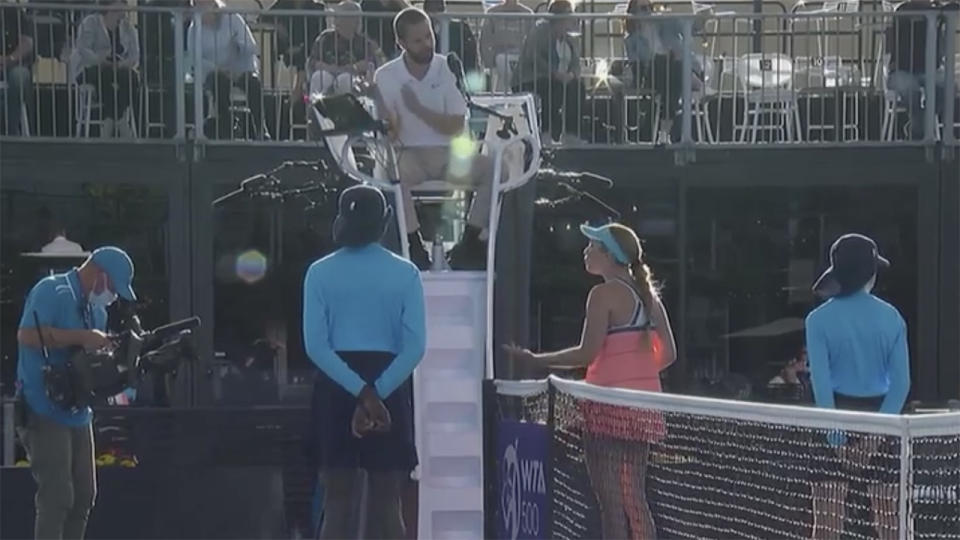 Danielle Collins, pictured here accusing the umpire of bias towards Ash Barty.