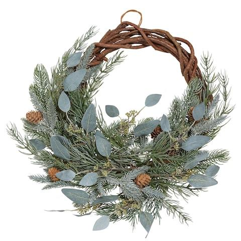 The White Company Frosted Green Pine Cone Wreath