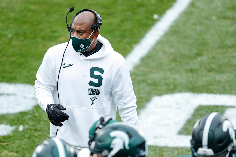 Michigan State head coach Mel Tucker watches a play against Ohio State during the first half at the Spartan Stadium in East Lansing on Saturday, Dec. 5, 2020.