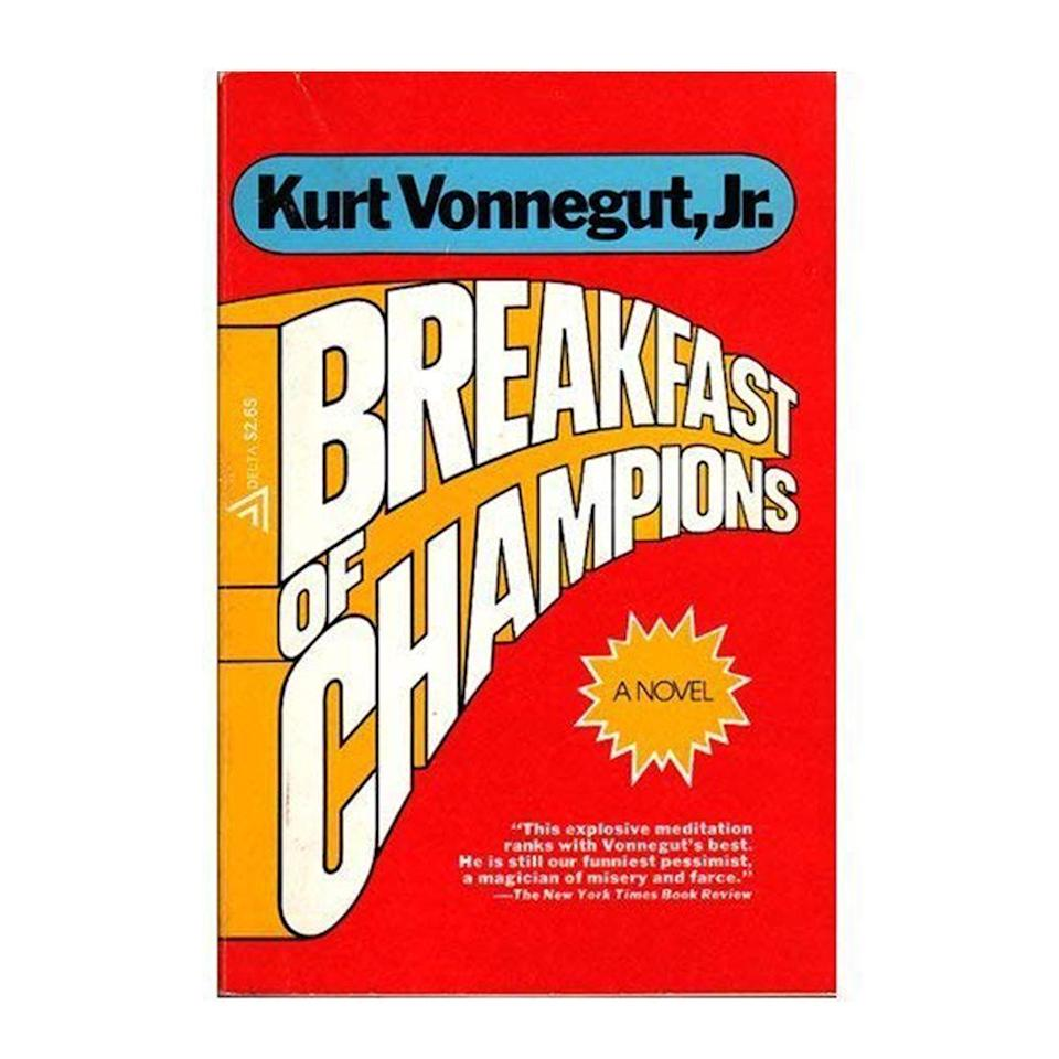"""<p><strong>$8.96 <a class=""""link rapid-noclick-resp"""" href=""""https://www.amazon.com/Breakfast-Champions-Novel-Kurt-Vonnegut/dp/0385334206/ref=sr_1_1?tag=syn-yahoo-20&ascsubtag=%5Bartid%7C10050.g.35033274%5Bsrc%7Cyahoo-us"""" rel=""""nofollow noopener"""" target=""""_blank"""" data-ylk=""""slk:BUY NOW"""">BUY NOW</a></strong></p><p><strong>Genre: </strong>Fiction</p><p>In this much-anticipated sequel to <em>Slaughterhouse-Five</em>, science fiction writer Kilgore Trout learns that a Midwestern car dealer has been taking his stories as truth. The book centers around the events that lead up to their meeting, the meeting itself, and what happens afterward, in a satire that closely examines war, sex, racism, and politics in America.</p>"""