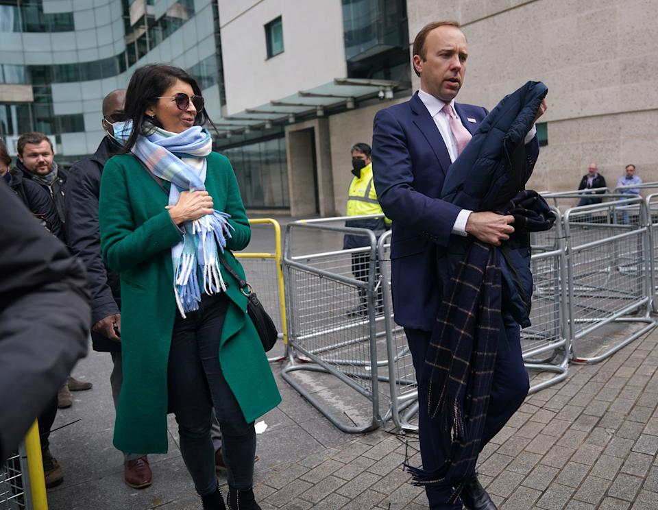Gina Coladangelo and Matt Hancock pictured on 16 May. (PA)