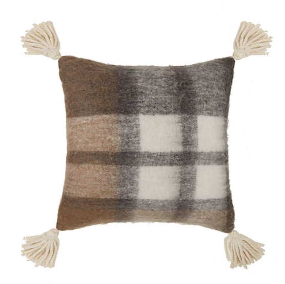 dark brown, white, and grey Bee & Willow Faux Mohair Plaid Square Throw Pillow