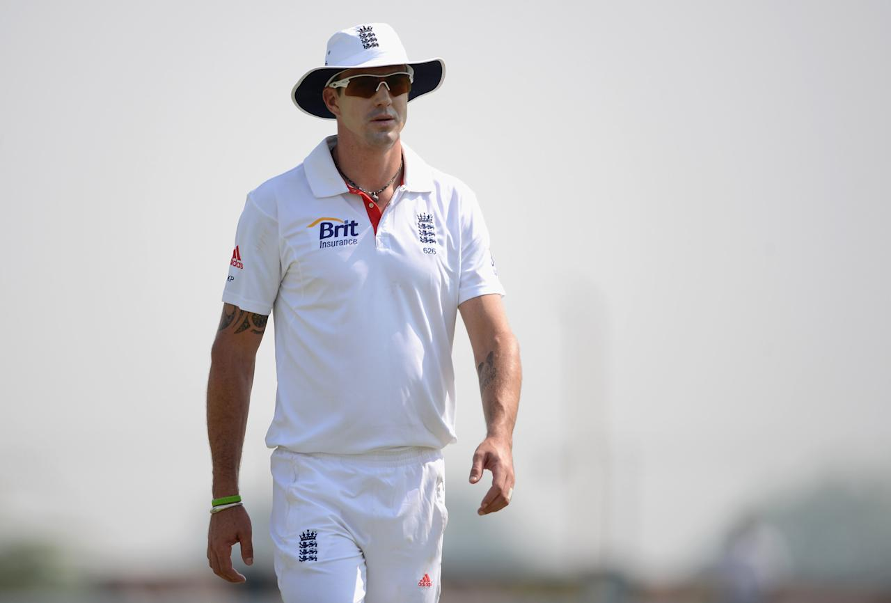 AHMEDABAD, INDIA - NOVEMBER 10:  Kevin Pietersen of England during day three of the tour match between England and Haryana at Sardar Patel Stadium ground B on November 10, 2012 in Ahmedabad, India.  (Photo by Gareth Copley/Getty Images)