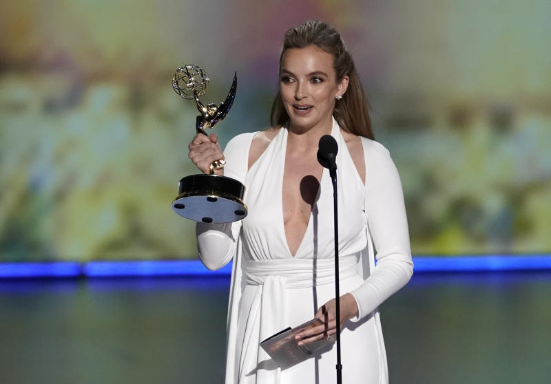 "71st Primetime Emmy Awards - Show - Los Angeles, California, U.S., September 22, 2019. Jodie Comer accepts the award for Outstanding Lead Actress in a Drama Series for ""Killing Eve."" REUTERS/Mike Blake"