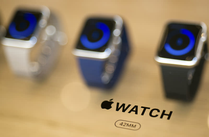 An Apple Watch logo is seen on a display at an Apple Store in Berlin