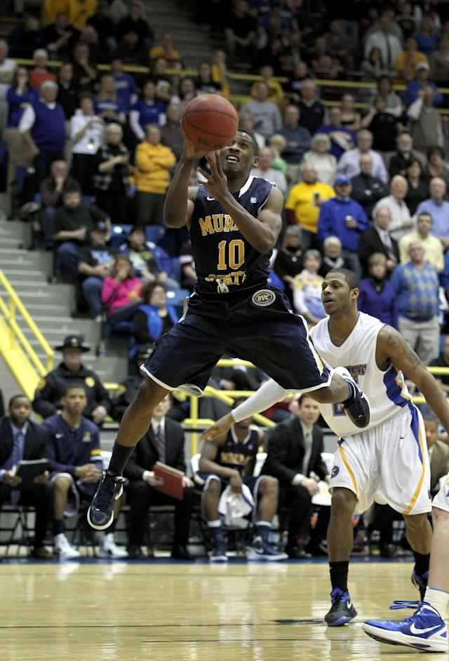 MOREHEAD, KY - JANUARY 18: Zay Jackson #10 of the Murray State Racers shoots the ball during the OVC game against the Morehead State Eagles at Johnson Arena on January 18, 2012 in Morehead, Kentucky. (Photo by Andy Lyons/Getty Images)