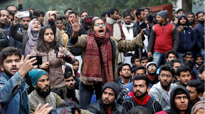A student of the Jamia Millia Islamia university reacts during a demonstration after police entered the university campus on the previous day, following a protest against a new citizenship law, in New Delhi, India, December 16, 2019. (Photo by REUTERS/Adnan Abidi)