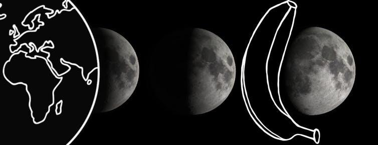 "<span class=""caption"">Illustration of three moon phases. As a guide possible objects are included that might cause a shadow to explain the observed shape of the phase.</span> <span class=""attribution""><span class=""source"">Daniel Brown</span></span>"