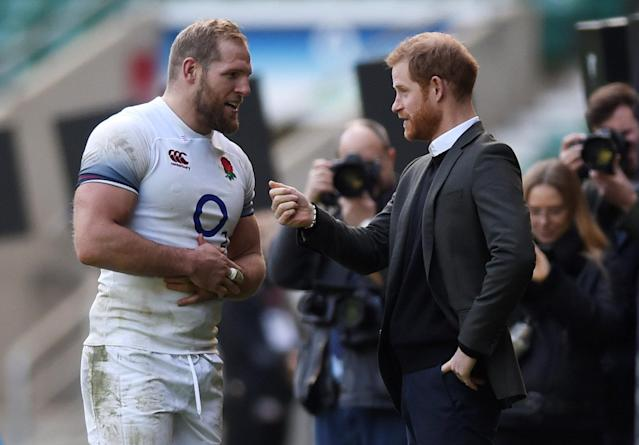 Rugby Union - England Training - Twickenham Stadium, London, Britain - February 16, 2018 Britain's Prince Harry talks to James Haskell at the training session Action Images via Reuters/Adam Holt