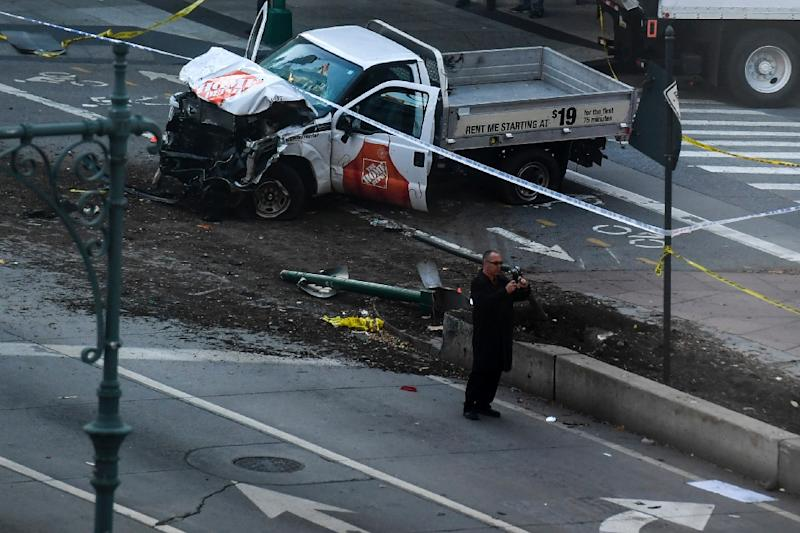 The truck used to mow down cyclists and pedestrians in New York City (AFP Photo/Don EMMERT)