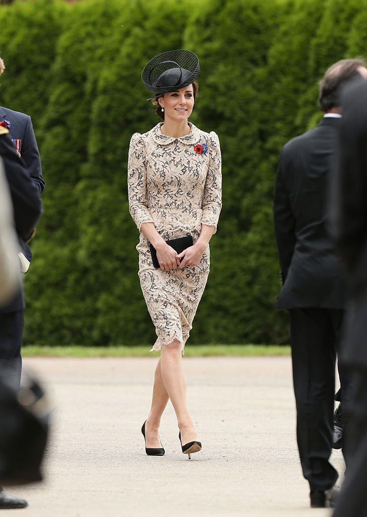 <p>The Duchess wore her Sophie Hallette Lace dress to the French Battle of the Somme 100th Anniversary Service.</p>