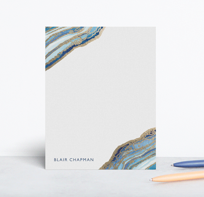 """<h2><a href=""""https://www.minted.com/product/foil-stamped-stationery/MIN-038-FPS/gilt-agate"""" rel=""""nofollow noopener"""" target=""""_blank"""" data-ylk=""""slk:Minted Gilt Agate Personalized Stationery"""" class=""""link rapid-noclick-resp"""">Minted Gilt Agate Personalized Stationery<br></a></h2><br>A <a href=""""https://www.refinery29.com/en-us/personalized-gifts"""" rel=""""nofollow noopener"""" target=""""_blank"""" data-ylk=""""slk:gift with a personal touch"""" class=""""link rapid-noclick-resp"""">gift with a personal touch</a> is always a good idea. <br><br><strong>Kaydi Bishop</strong> Gilt Agate Personalized Stationery, $, available at <a href=""""https://go.skimresources.com/?id=30283X879131&url=https%3A%2F%2Fwww.minted.com%2Fproduct%2Ffoil-stamped-stationery%2FMIN-038-FPS%2Fgilt-agate"""" rel=""""nofollow noopener"""" target=""""_blank"""" data-ylk=""""slk:Minted"""" class=""""link rapid-noclick-resp"""">Minted</a>"""