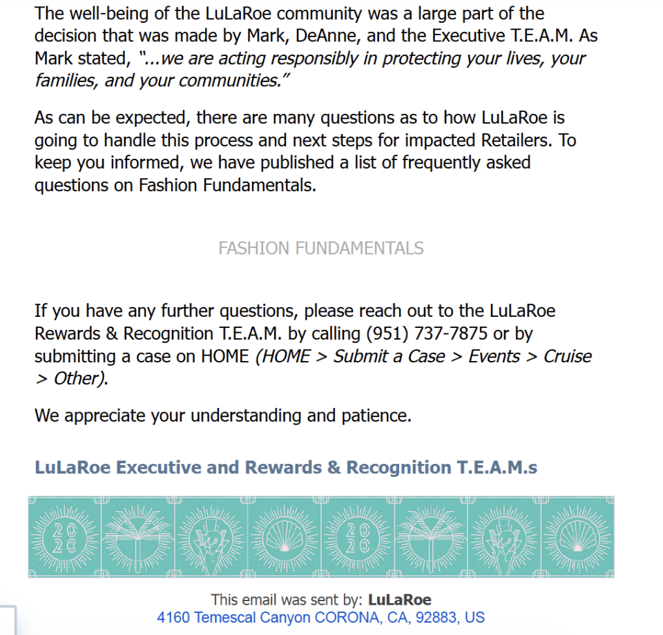 Qualifying LuLaRoe retailers were informed five days before the company's highest-sellers were about to embark on a free cruise. (Email obtained and verified by Cashay)
