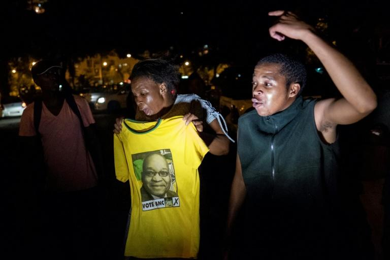 """Supporters sang the liberation-era song """"Umshini Wam"""", meaning """"Bring me my machine gun"""", which Zuma often sang at rallies"""