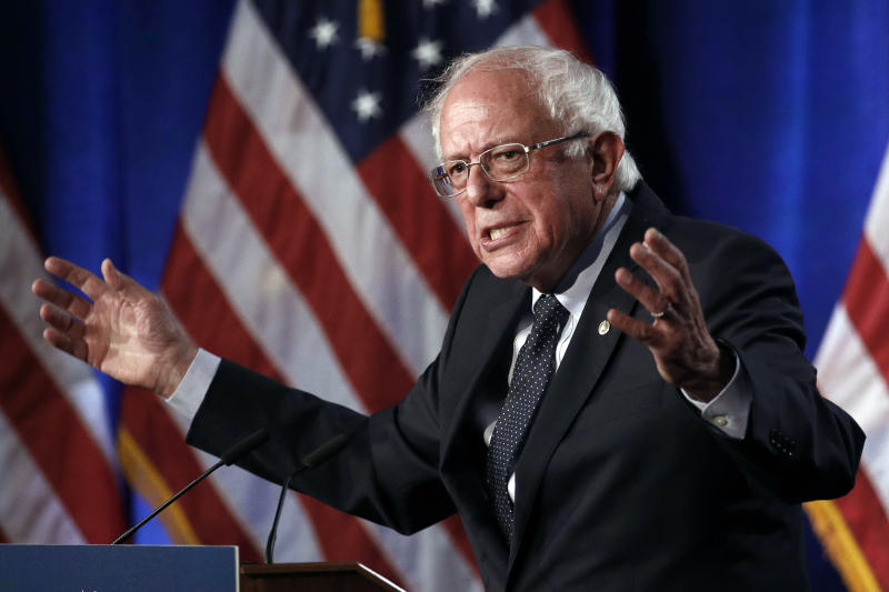"""FILE - In this July 17, 2019 file photo, Democratic presidential candidate, Sen. Bernie Sanders, I-Vt., speaks about his """"Medicare for All"""" proposal at George Washington University in Washington. Sanders had a heart attack, his campaign confirmed Friday, Oct. 4, as the Vermont senator was released from a Nevada hospital. Sanders' campaign released a statement from the 78-year-old's Las Vegas doctors that said the senator was stable when he arrived Tuesday at Desert Springs Hospital Medical Center. (AP Photo/Patrick Semansky)"""