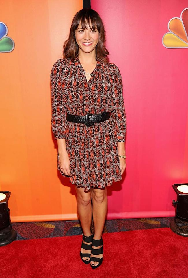 """Parks and Recreation"" cutie Rashida Jones popped a pose in a printed dress. Jamie McCarthy/<a href=""http://www.wireimage.com"" target=""new"">WireImage.com</a> - May 16, 2011"