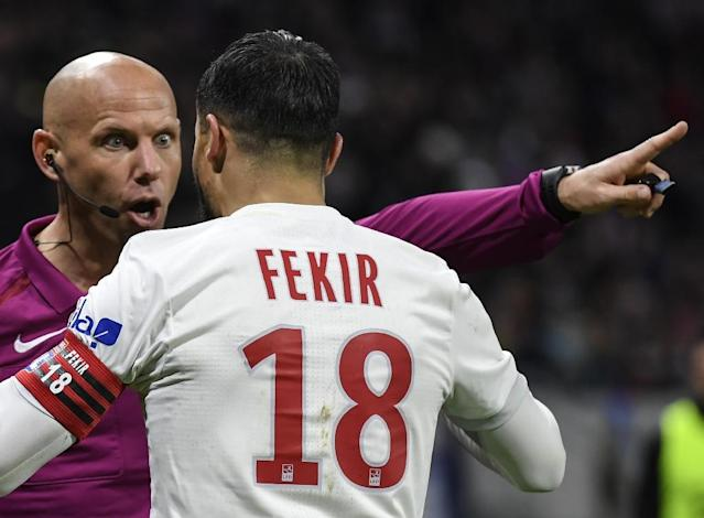 Lyon were furious after Nabil Fekir was denied what looked to be a certain penalty (AFP Photo/PHILIPPE DESMAZES)