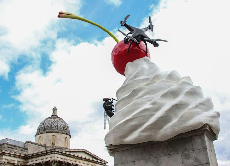 """<p>Heather Phillipson is the current artist to have a work occupying the vacant fourth plinth in Trafalgar Square, coming after the likes of Michael Rakowitz (above), Yinka Shonibare and Marc Quinn. Yet her commission was unveiled last year, in an empty square with little fanfare and even less (in terms of global pandemics, etc) to be happy about. So it seems only fair that her eye-catching sculpture – a giant, melting whippy ice cream, with a fly, a drone and a cherry on top – should, even belatedly, get a little of the attention it deserves. For even more Phillipson, head along Millbank to Tate Britain, where she's currently running riot in the <a href=""""https://www.tate.org.uk/whats-on/tate-britain/exhibition/heather-phillipson"""" rel=""""nofollow noopener"""" target=""""_blank"""" data-ylk=""""slk:Duveen Galleries"""" class=""""link rapid-noclick-resp"""">Duveen Galleries</a>.</p><p>Now on, <a href=""""https://www.london.gov.uk/what-we-do/arts-and-culture/current-culture-projects/fourth-plinth-trafalgar-square"""" rel=""""nofollow noopener"""" target=""""_blank"""" data-ylk=""""slk:London.gov.uk"""" class=""""link rapid-noclick-resp"""">London.gov.uk</a></p>"""