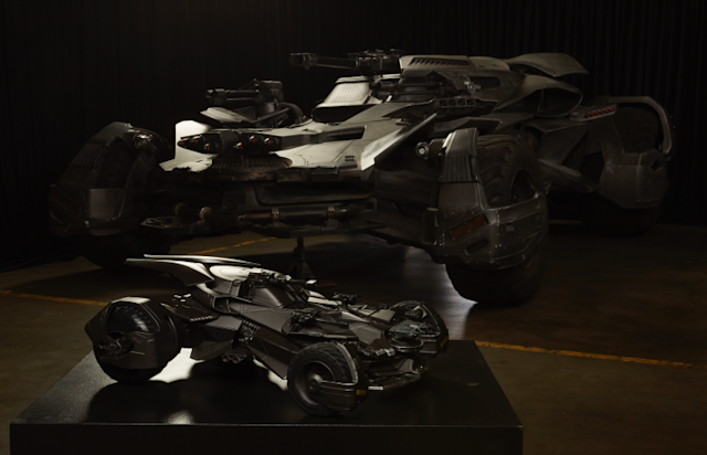 The <em>Justice League</em> Batmobile, paired with Mattel's Ultimate <em>Justice League</em> Batmobile, will be exhibited at Comic-Con. (Photo: Warner Bros.)