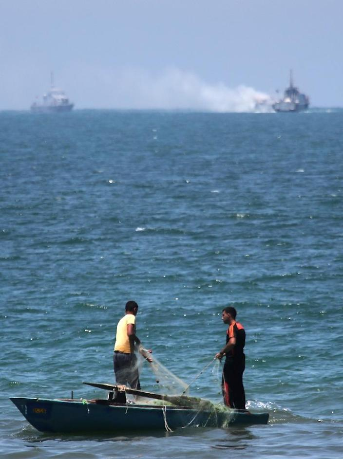 The military had earlier said one of its boats came under attack and was set on fire while pursuing militants, but that it suffered no losses (AFP Photo/Said Khatib)