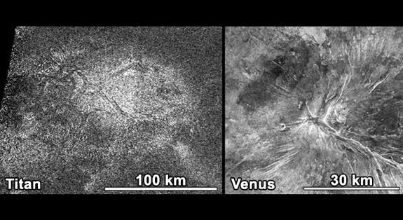 NASA's Cassini spacecraft obtained this image of a feature shaped like a hot cross bun in the northern region of Titan (left) that bears a striking resemblance to a similar feature on Venus (right).