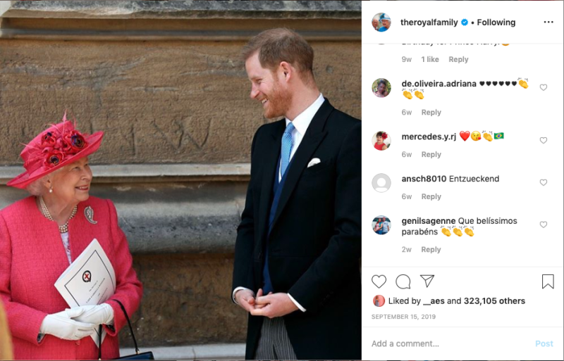 Prince Harry talking to the Queen