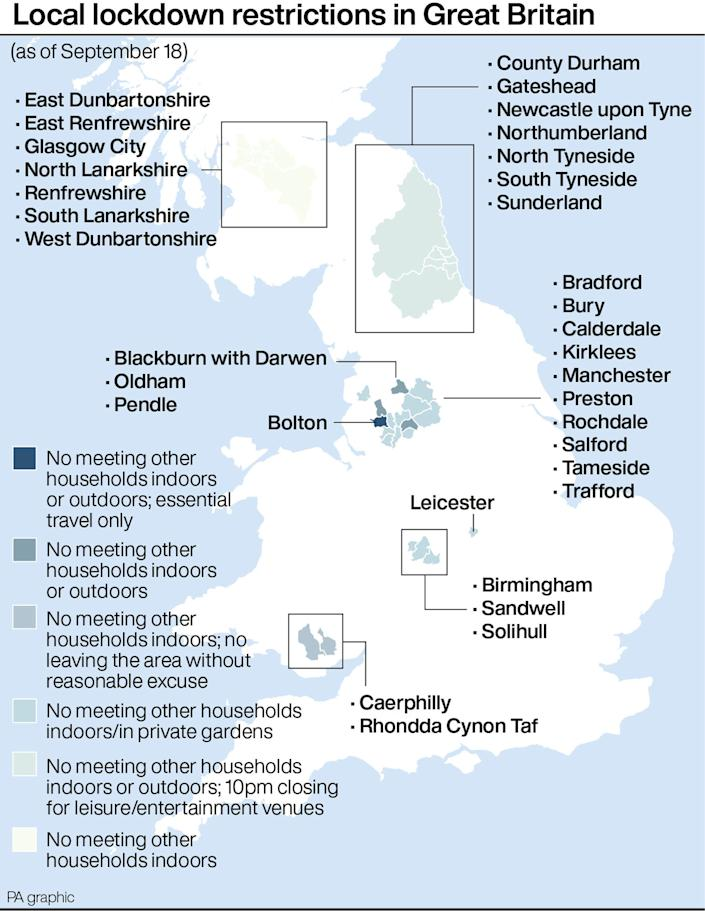 Local lockdown restrictions in Great Britain. See story HEALTH Coronavirus. Infographic PA Graphics. An editable version of this graphic is available if required. Please contact graphics@pamediagroup.com.