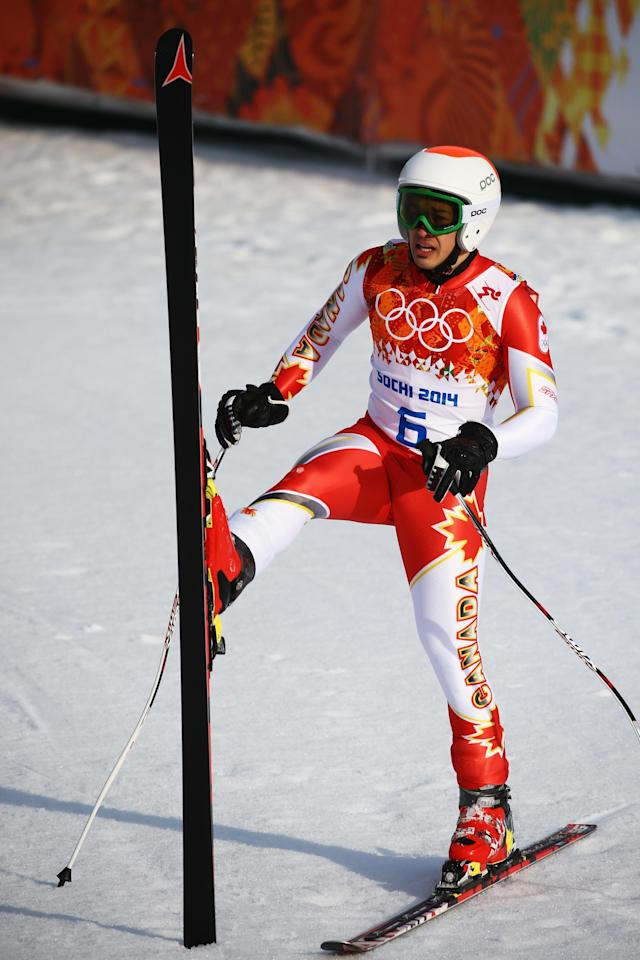SOCHI, RUSSIA - FEBRUARY 16: Morgan Pridy of Canada finishes a run during the Alpine Skiing Men's Super-G on day 9 of the Sochi 2014 Winter Olympics at Rosa Khutor Alpine Center on February 16, 2014 in Sochi, Russia. (Photo by Doug Pensinger/Getty Images)