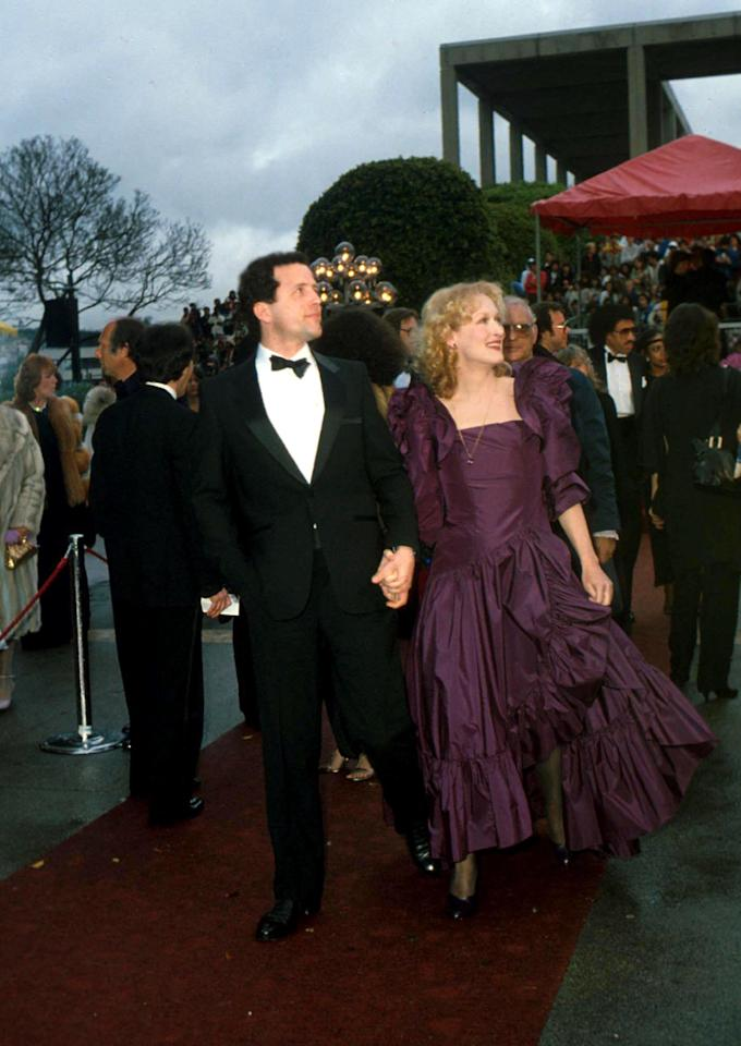 """<p>For her third nomination (for <i><a rel=""""nofollow"""" href=""""http://www.imdb.com/title/tt0082416/?ref_=nmawd_awd_17"""">The French Lieutenant's Woman</a></i>) in four years, Streep chose to wear a purple taffeta gown.</p>"""