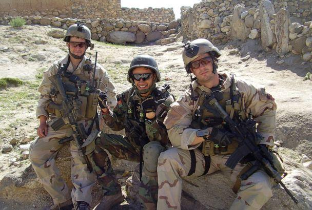 PHOTO: Then-Sgt. Matthew Williams with Staff Sgt. Ronald Shurer II assigned to 3rd Special Forces Group (Airborne), sit outside a small village in Eastern Afghanistan in May 2008. (Courtesy of U.S. Army Master Sgt. Matthew Williams)