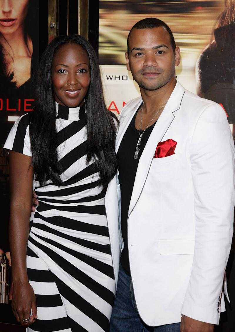 TV presenter Angelica Bell and Michael Underwood attends the UK film premiere of 'Salt' at the Empire Leicester Square on August 16, 2010 in London, England.
