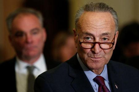 FILE PHOTO: U.S. Senate Minority Leader Chuck Schumer (D-NY) speaks to reporters at the U.S. Capitol in Washington, U.S. March 21, 2017.  REUTERS/Jonathan Ernst