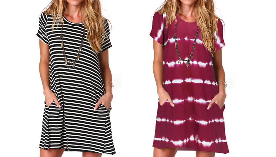 Stripes, florals, tie-die, and more. This t-shirt dress comes 30 ways (so you'll need at least two.) (Photo: Amazon)