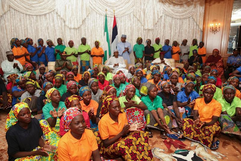 Eighty-two Nigerian schoolgirls, seen here, were released earlier this month as part of a prisoner swap deal with Boko Haram, the Islamist group which kidnapped 276 of them in April 2014