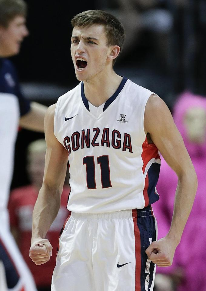 Gonzaga's David Stockton reacts after a BYU turnover in the first half of the NCAA West Coast Conference tournament championship college basketball game, Tuesday, March 11, 2014, in Las Vegas. (AP Photo/Julie Jacobson)