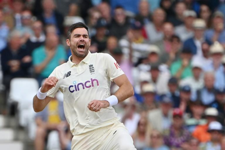 In the wickets - England's James Anderson celebrates his dismissal of India's Cheteshwar Pujara in the first Test at Trent Bridge on Thursday