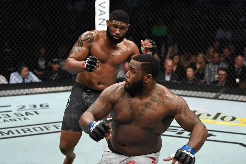 NASHVILLE, TENNESSEE - MARCH 23: (L-R) Curtis Blaydes knows down Justin Willis in their heavyweight bout during the UFC Fight Night event at Bridgestone Arena on March 23, 2019 in Nashville, Tennessee. (Photo by Jeff Bottari/Zuffa LLC/Zuffa LLC via Getty Images)