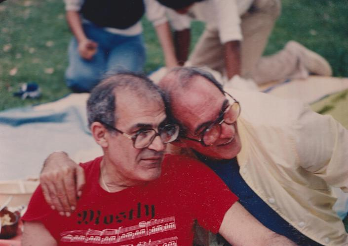 John Strauss (left) and Lionel Friedman in the early 1980s in Los Angeles, shortly after they met.